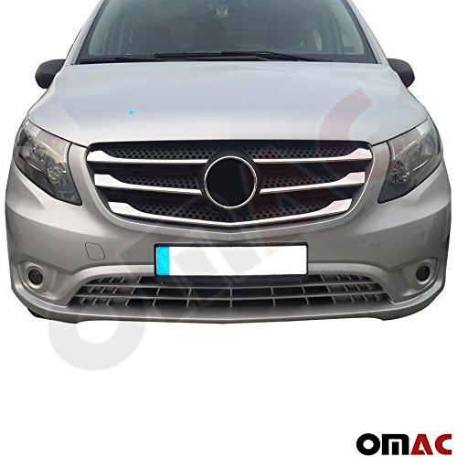 MERCEDES METRIS CHROME FRONT GRILLE COVER TRIM KIT STAINLESS STEEL 5 PCS.