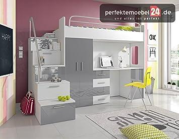 PM_RJA4S18 Hochbett mit Schubladen-Treppen und Schreibtisch (GRAU ...
