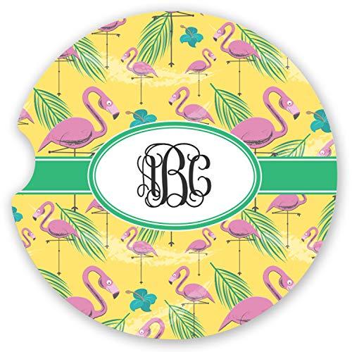 (Pink Flamingo Sandstone Car Coaster - Single (Personalized))