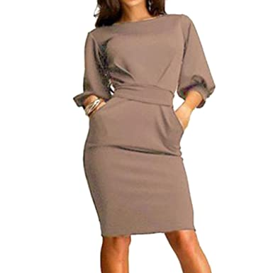 2579879de1a Juleya Women Dresses Lady Office Dress Sexy Slim Fit Dresses O Neck Work  Casual Party Dress Sexy Elegant Beautiful  Amazon.co.uk  Clothing