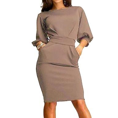 f01c1a553a03 Hibote Damen Kleider Büro Kleid Sexy Slim Fit Kleider O Ausschnitt Arbeit  Casual Party Kleid Schön Elegant  Amazon.de  Bekleidung