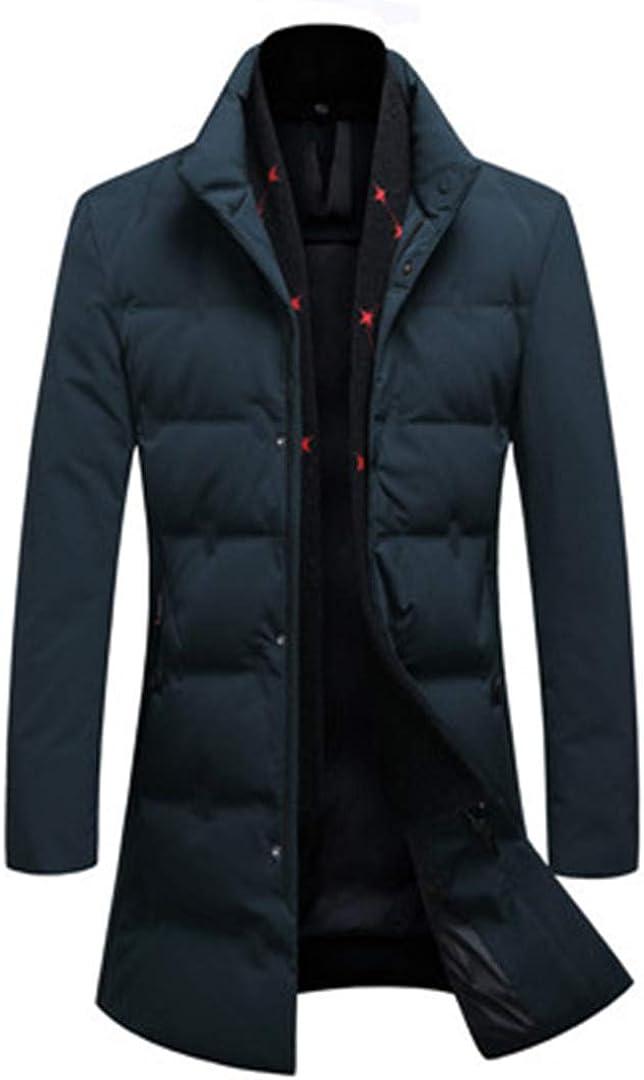 Man&Jenensy Uomo 85% Piuma D\'Oca Giacche Classiche Winer Cappotti con Staccabile Sciarpa Calda Addensare Giacche Navy Blue