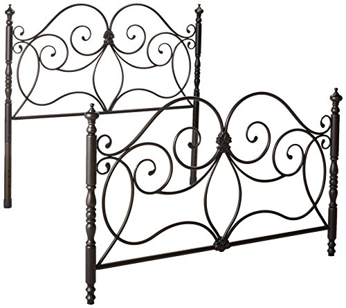 (Queen Iron Headboard and Footboard with Scroll Details Dark Bronze)