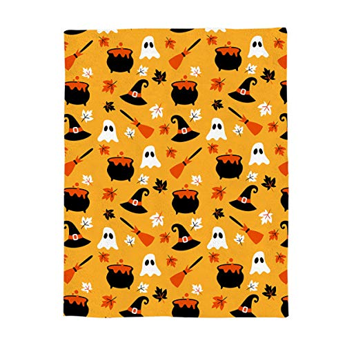 Flannel Fleece Bed Blanket Soft Throw-blankets Home Decor,Orange Ghost Witch Hat Magic Broom Maple Leaf Halloween Print,Lightweight Cozy Plush Blankets for Bedroom Living Room Sofa Couch,59 x 79 -