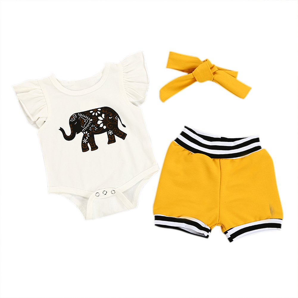 Baywell Baby 3 st/ücke Strampler Set Hut Outfits Set Pants Jungen M/ädchen Brief Drucken Langarm Body Jumpsuit