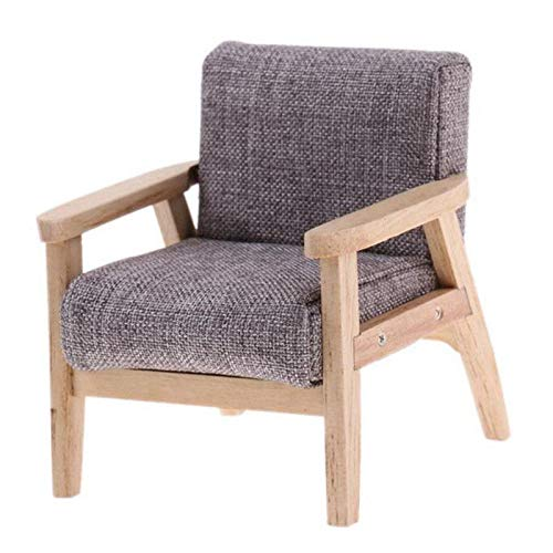 Kit Dollhouse Willow - Brosco 1:12 Dollhouse Miniature Furniture Living Room Wooden Single Grey Sofa Chair -