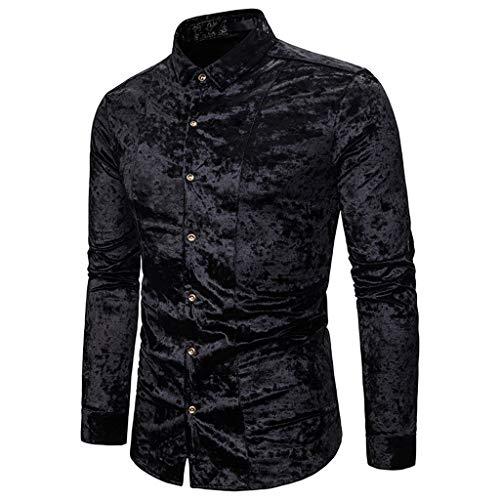 Fashion Personality Men's Casual Senior Lapel Diamond Velvet T Shirt Top Blouse