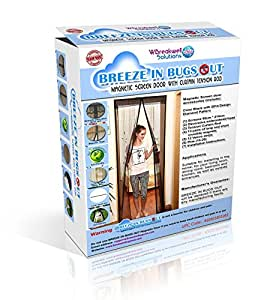 Breeze In Bugs Out Magnetic Screen Door With Curtain Tension Rod