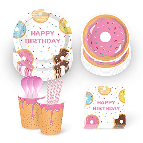 Up Themed Party (Donut Party Supplies,Donut Grow Up Party Supplies-Serves 16-Includes Donut Paper Plates,Cups,Napkins and Straw for Donut Party, Donut Grow Up Party, Hawaiian Party,1st Birthday,Baby Shower,Picnic,Thanksgiving,Christmas and Happy New)