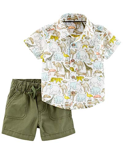 (Carter's Baby Boys 2-Piece Button-Front Shirt and Canvas Short Set (Olive/Animals, 12 Months))