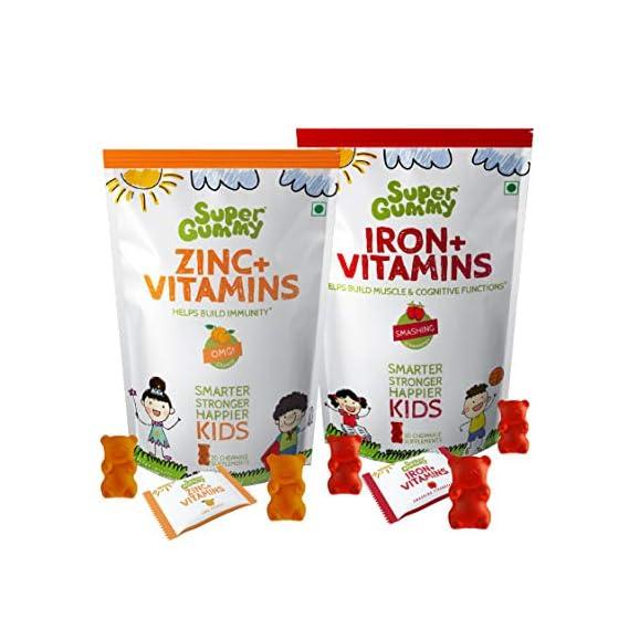 Super Gummy Iron + Zinc Gummies for Kids | Immunity Boost & Improve Cognition (Combo 2 Pack | 30 Chewable Gummy Bears per Pack)