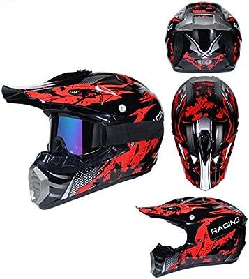 Casco de Moto de Cara Completa para Hombres con obsequio m/áscara y Visera Cascos de Motocicleta Anti-ca/ída Off Road Moto Motocross Racing Protecci/ón Gorras de Seguridad
