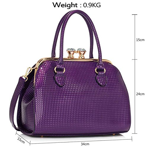 Faux Purple Diamante London Bag New Xardi Medium Embossed Leather Clasp Handbags Women Patent Ladies Shoulder 8UwOxqOtd