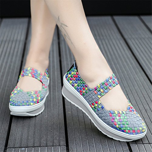FZDX Women Woven Shoes Slip On Fashion Sneakers Lightweight Walking Shoes Handmade Comfort Grey 8833 hD5XZXT