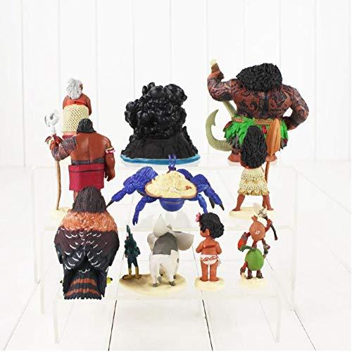 10pcs/Lot Princess Moana Figure Toys Maui Gramma Tala Tui Tamatoa Heihei Rooster Pua Pig Hawk Animal Model Dolls for Kids