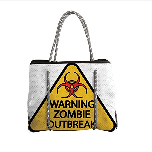 iPrint Neoprene Multipurpose Beach Bag Tote Bags,Zombie Decor,Warning Zombie Outbreak Sign Cemetery Infection Halloween Graphic Decorative,Earth Yellow Red Black,Women Casual Handbag Tote Bags for $<!--$39.99-->