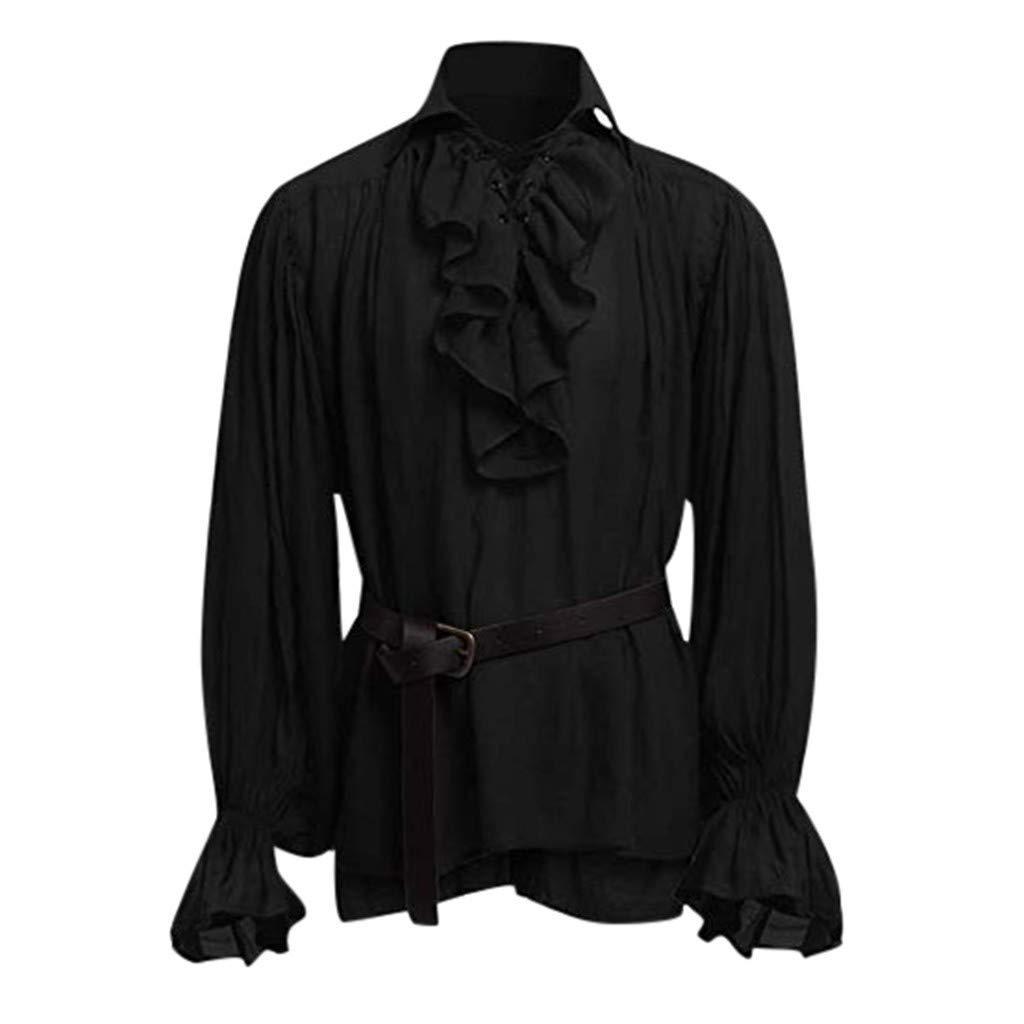 Herren Cosplay Gothic Victorian R/üschenhemd Mittelalter Hemd Elegant Langarmshirt Piebo Vintage Steampunk Piraten R/üschen Top Viktorianisch Renaissance Freizeit Shirt Weihnachten Karneval Kost/üm