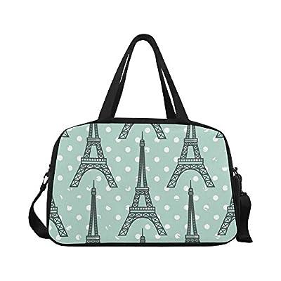 cde2e9fe6c71 InterestPrint Eiffel Tower Polka Dot Duffel Bag Travel Tote Bag Handbag  Luggage on sale