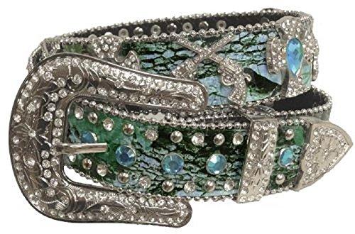 Showman Couture Camo Rhinestone Cross Gun Pistols Spiritual Leather Belt Jp Blue (XS/S)