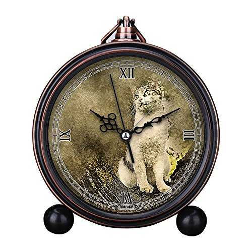 Vintage Retro Living Room Decorative Non-ticking, HD Glass Lens, Easy to Read, Quartz, Analog Large Numerals Bedside Table Desk Alarm Clock-159.Owl Cat, Animal, Tree, Art, Abstract