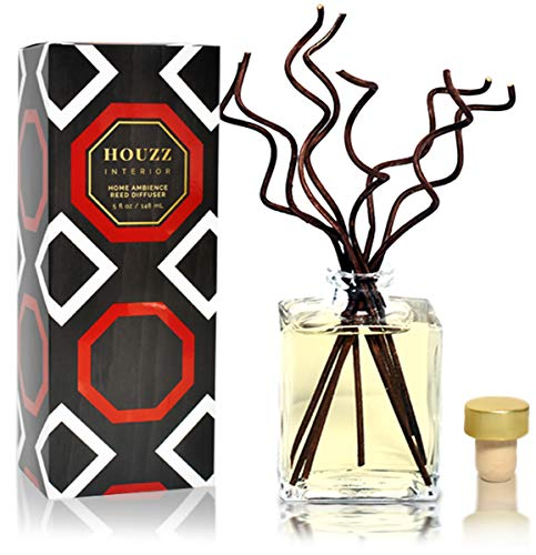HOUZZ Interior Reed Diffuser Sticks Caribbean Teakwood Room Fragrance - Citrus & Spice with Warm Amber & Vanilla - Made with Natural Essential Oils - No Sulfates or Parabens - Made in The USA