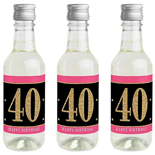 Chic 40th Birthday - Pink, Black and Gold - Mini Wine and Champagne Bottle Label Stickers - Birthday Party Favor Gift for Women and Men - Set of 16