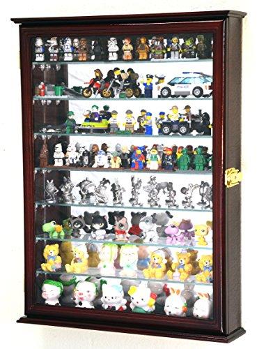 sfDisplay.com,LLC. Large Lego Men Minifigures/Star Wars/Disney/Minature Figurines Display Case Cabinet w/Adjustable Shelves (Cherry Finish) (Figurine Display Collection)