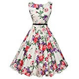 Funic Women's Vintage Musical Note Printing Bodycon Sleeveless Evening Party Prom Swing Dress (M, Pink)