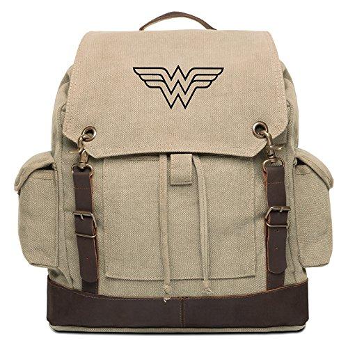 Cheap Wonder Woman Symbol Vintage Canvas Rucksack Backpack w/Leather Straps Khaki & Bk