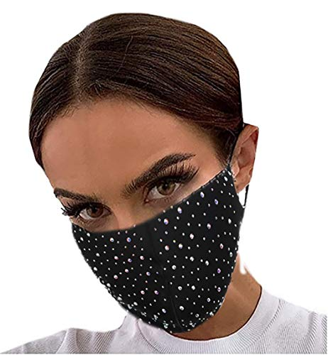 Ushiny Glitter Mask Sparkly Crystal Masquerade Ball Party Face Masks Halloween Genie Costume Accessory Mardi Gras Jewelry for Women and Girls (Black3)