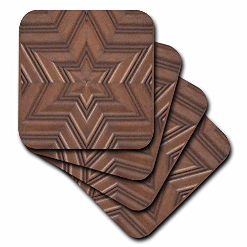 3dRose cst_155683_3 Magen David Stars-Photo Print of Wood Carving-Brown Jew Symbol-Judaism-Jewish Gifts-Ceramic Tile Coasters, Set of 4 -