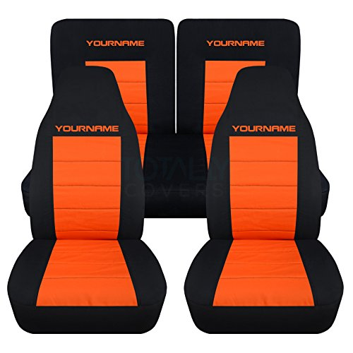 1994-2004 Ford Mustang 2-Tone Seat Covers w Your Name/Text: Black & Orange - Full Set (22 Colors) Coupe/Convertible Solid/Split Bench 4th Gen 1995 1996 1997 1998 1999 2000 2001 2002 2003