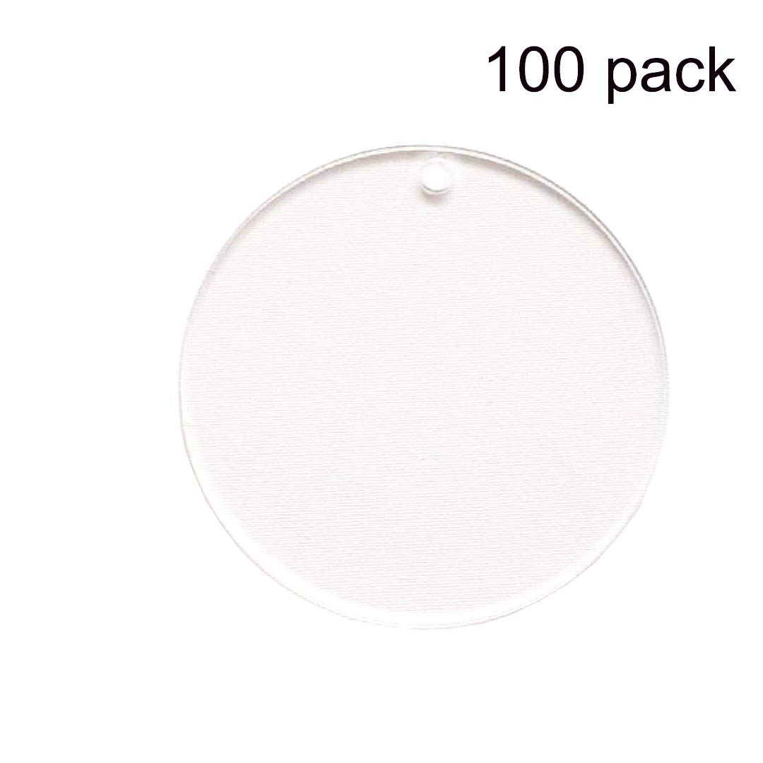 100 Pieces 2'' Diameter Clear Transparent Acrylic Keychain Blanks Discs Circles Hole Precut with Protective Paper 1/8'' Thick by tyoungg