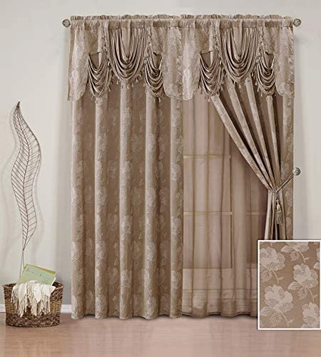 Elegant Home Window Curtain Drapes All-in-One Set with Valance Sheer Backing Tassels for Living Room, Bedroom, Dining Room, and Sliding Doors – Celeste Taupe