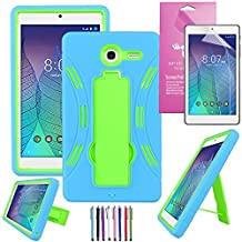 Alcatel Onetouch Pop 7 LTE Case, EpicGadget(TM), Heavy Duty Hybrid Case Full Protection Cover with Kickstand For One Touch Pop 7 LTE 9015W 9015B + 1 Screen Protector + 1 Stylus (Blue/Green)