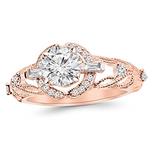 1.28 Ctw Vintage/Antique Baguette and Round Engagement Ring w/Round 1 Carat Forever One Moissanite Center ()