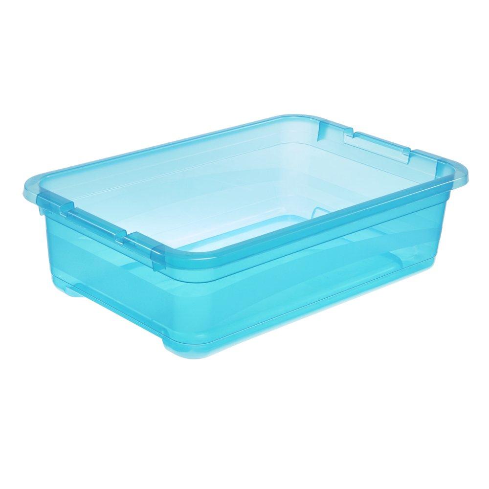 Cornelia 29,5 x 19,5 x 12,5 cm 4 l Blau Transparent keeeper Aufbewahrungsbox mit Deckel und Schiebeverschluss