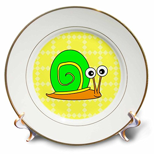 3dRose cp_6290_1 Cute Orange, Yellow and Green Snail Design Porcelain Plate, 8-Inch