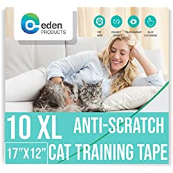 EdenProducts Anti-Scratch Cat Deterrent Tape - Precut Stickers for Furniture, Doors, Curtains, and Any Other Needed Application - 10 XL Sheets of 17 x 12 Inches Clear Residue Free Protective Tape