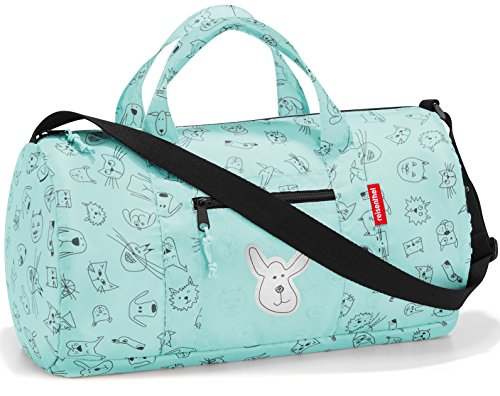 reisenthel Mini Maxi Dufflebag S Kids, Small Foldable Overnight Bag for Sports and Travel, Built-in Carrying Pouch, Cats and Dogs Mint -