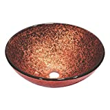 Dawn GVB86131 Tempered Glass, Hand-Painted Glass Vessel Sink-Round Shape, Pink and Brown