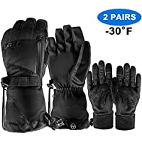 OutdoorMaster Waterproof Ski Gloves with Non-Slip Rubber Palms