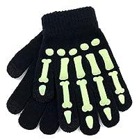 accsa Toddler Kid Boy Girl Glow Dark Skeleton Print Touchscreen Magic Gloves 2 Pack Christmas Gift