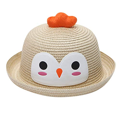 (MOGOV Baby Hat Summer Cap Breathable Cartoon Chick Print Hat Kids Ears Decoration Straw Hats Beige)