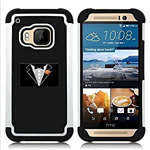 GIFT CHOICE / Defensor Cubierta de protección completa Flexible TPU Silicona + Duro PC Estuche protector Cáscara Funda Caso / Combo Case for HTC ONE M9 // Minimalist Tuxedo //