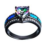 F&F Ring Rainbow Heart Zircon Rings Black Gold Filled Vintage Jewelry for Women Wedding Engagement Rings