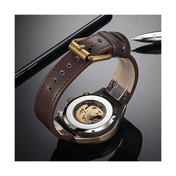 Luxury Automatic Mechanical Men's Leather Belt Fashion Business Bronze Steel Waterproof Skeleton Watches 5