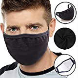Flyalone Unisex Mouth Mask Adjustable Anti Dust Face Mouth Mask,Black Cotton Face Mask for Cycling Camping Travel,Unisex Kpop Mask Anime Mask Muffle Mask Earloop Mask for Men Women Kids Teens Boys