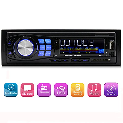 Single Din Car Audio FM radio stereo receiver Bluetooth MP3 Player supprot USB/SD/AUX/FLAC with Wireless Remote (Portable Car Stereo)