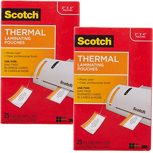 Business Card Laminating Machine (Scotch (50 Count) 3M Thermal Laminating Pouches Business Card Size Luggage Tag Laminates)